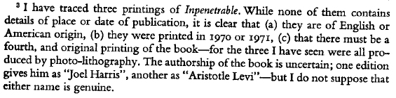 francis king inpenetrable footnote