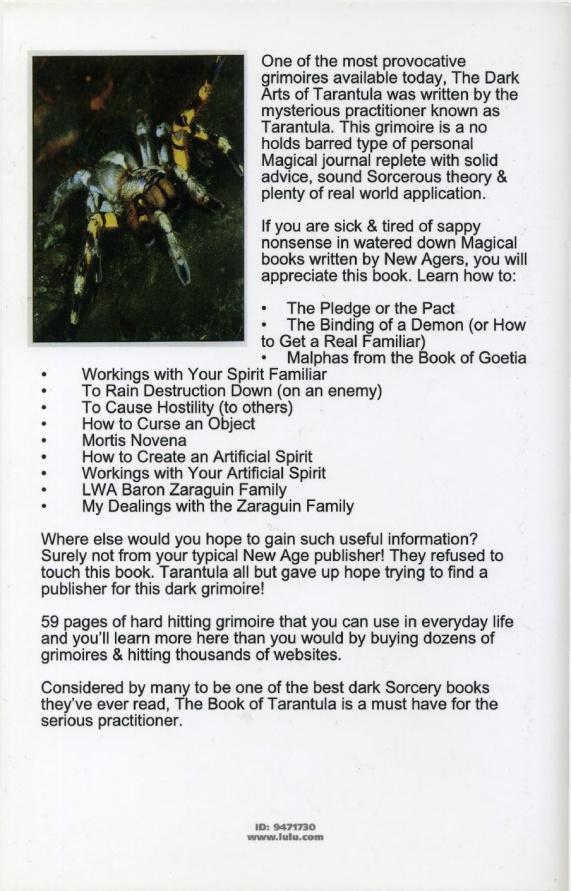 dark arts of tarantula back