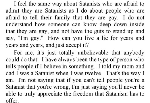 words of a dumb satanist
